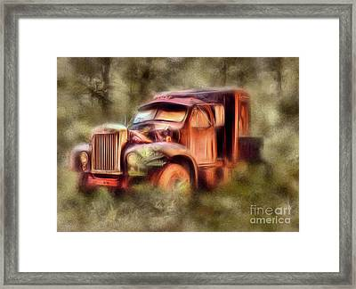 Old Rusty Truck In The Woods - Jocassee Ap Framed Print by Dan Carmichael