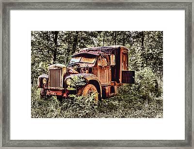 Old Rusty Truck In The Woods - Jocassee Framed Print by Dan Carmichael