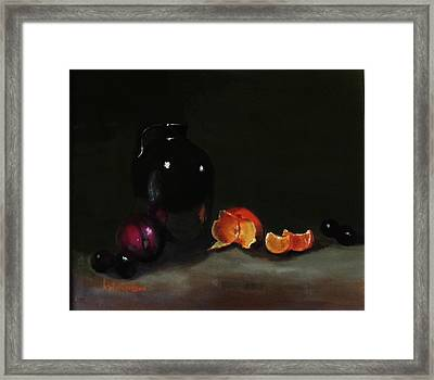 Framed Print featuring the painting Old Sake Jug And Fruit by Barry Williamson