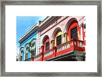 Old San Juan Balcony Framed Print by John Rizzuto