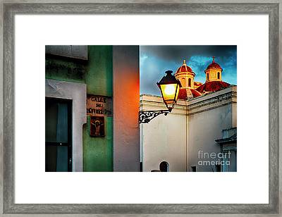 Old San Juan Street Corner With A Cathedral Framed Print by George Oze