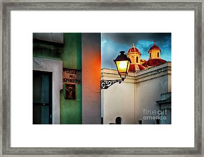 Old San Juan Street Corner With A Cathedral Framed Print