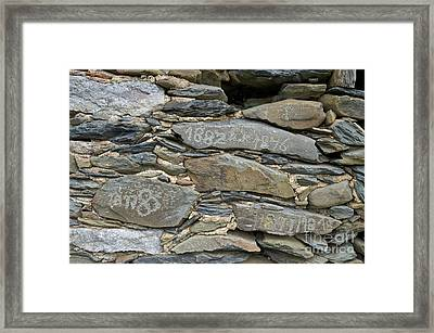 Old Schist Wall With Several Dates From 19th Century. Portugal Framed Print by Angelo DeVal