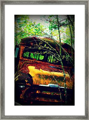 Old School Bus Framed Print by Dana  Oliver