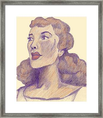 Framed Print featuring the drawing Old School Hollywood by Jean Haynes
