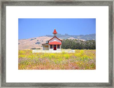Old School House In A Field Framed Print by C Thomas Cooney