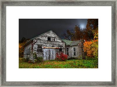 Old School House In Autumn Framed Print