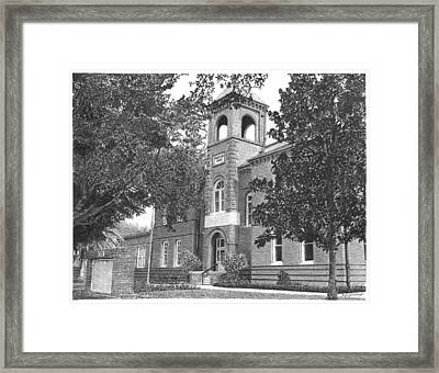 Drawing - Old School House Framed Print
