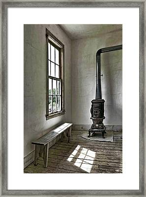 Old School House Stove Framed Print by Wes and Dotty Weber
