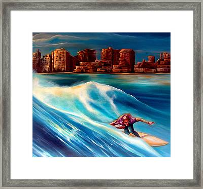 Old School Long Beach Framed Print by Robert  Nelson