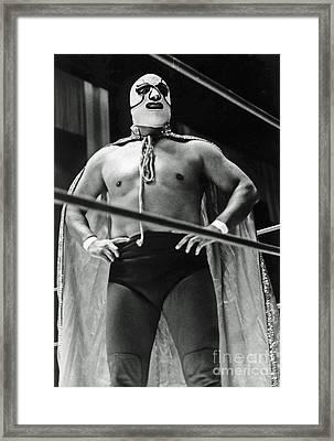 Old School Masked Wrestler Luchador Framed Print