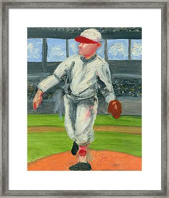Old School Pitcher Framed Print by Jorge Delara