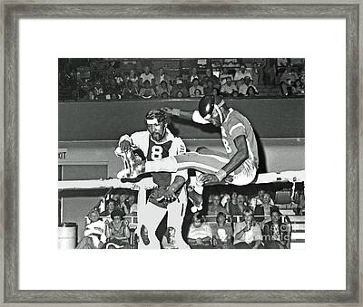 Framed Print featuring the photograph Old School Roller Derby Flying In The Air by Jim Fitzpatrick