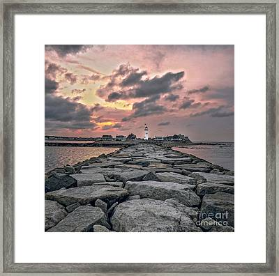 Old Scituate Light At The End Of The Jetty Framed Print