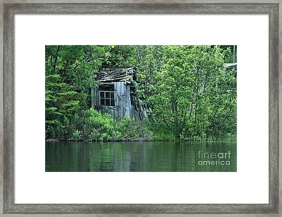Old Shed On The Lake Framed Print by Marjorie Imbeau