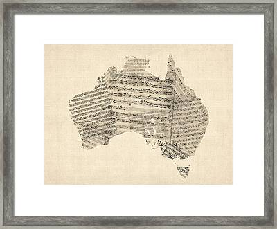 Old Sheet Music Map Of Australia Map Framed Print