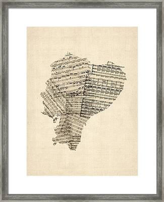 Old Sheet Music Map Of Ecuador Map Framed Print by Michael Tompsett