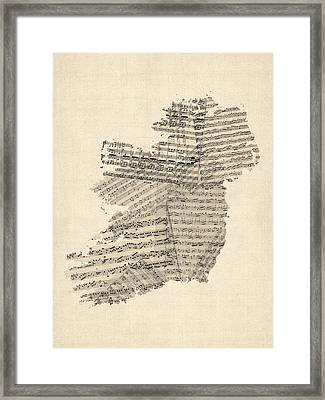 Old Sheet Music Map Of Ireland Map Framed Print by Michael Tompsett