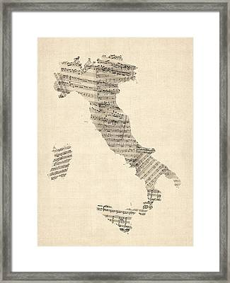 Old Sheet Music Map Of Italy Map Framed Print by Michael Tompsett