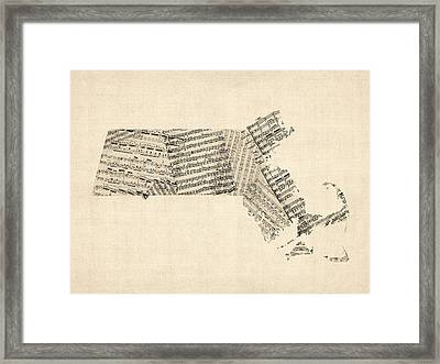 Old Sheet Music Map Of Massachusetts Framed Print by Michael Tompsett