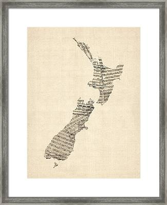 Old Sheet Music Map Of New Zealand Map Framed Print by Michael Tompsett