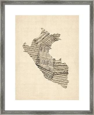 Old Sheet Music Map Of Peru Map Framed Print
