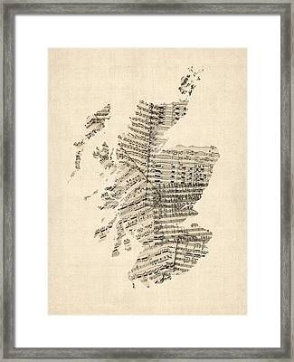 Old Sheet Music Map Of Scotland Framed Print