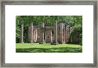 Old Sheldon Church Ruins In Sunlight Framed Print