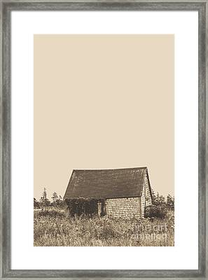 Old Shingled Farm Shack Framed Print by Edward Fielding