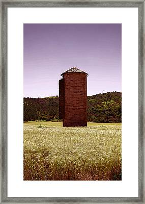 Old Silo In A Wheat Field Framed Print by Jeff Swan