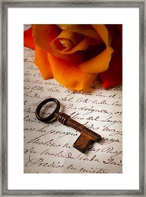 Old Skeleton Key On Letter Framed Print by Garry Gay