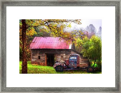 Framed Print featuring the photograph Old Smoky Truck And Barn by Debra and Dave Vanderlaan