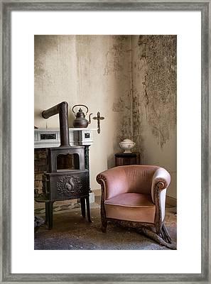Old Sofa Waiting - Abandoned House Framed Print