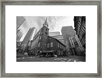 Old South Meeting House Boston Ma Black And White Framed Print
