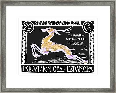 old Spanish postage stamp Framed Print by James Hill