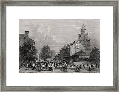 Old State House Philadelphia Usa Framed Print by Vintage Design Pics