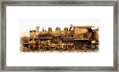 Old Steam Engine Locomotive Watercolor Framed Print