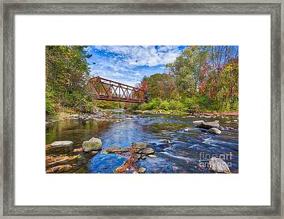 Framed Print featuring the photograph Old Steel Truss Train Bridge Newport New Hampshire by Edward Fielding