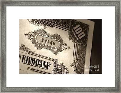 Old Stock Market Shares Vintage Certificate Framed Print by Olivier Le Queinec