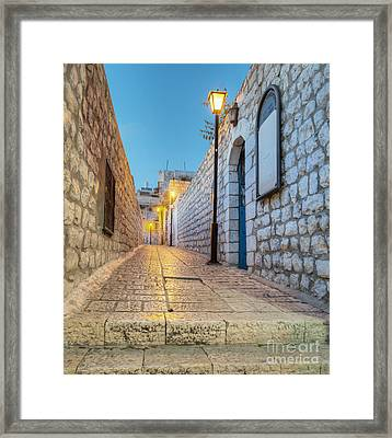 Old Stone Alleyway With Electric Lights Framed Print
