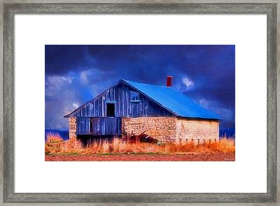 Old Stone Barn Blue Framed Print