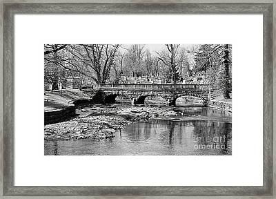 Old Stone Bridge In Black And White Framed Print by Kathleen Struckle