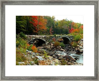 Old Stone Bridge In Fall Framed Print by Lois Lepisto