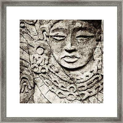Old Stone Carving Of A Face Framed Print by Skip Nall