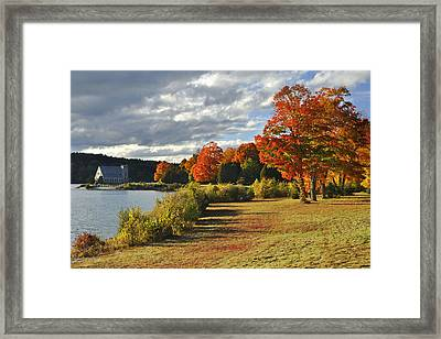 Old Stone Church Autumn Glow Framed Print by Luke Moore