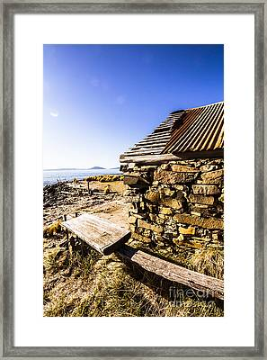 Old Stone Coastal Boat House Framed Print by Jorgo Photography - Wall Art Gallery