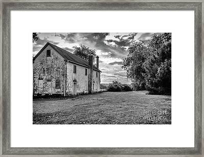 Old Stone House Black And White Framed Print