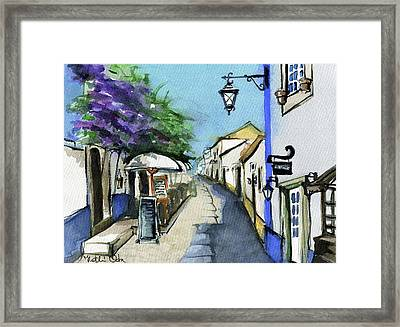 Framed Print featuring the painting Old Street In Obidos, Portugal by Dora Hathazi Mendes