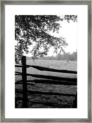 Old Sturbridge Fence In Black And White Framed Print by Belinda Dodd