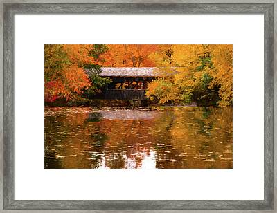 Framed Print featuring the photograph Old Sturbridge Village Covered Bridge by Jeff Folger